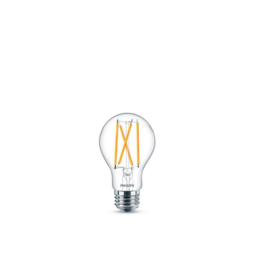 Philips 60-Watt Equivalent Daylight A19 Dimmable Energy Saving Clear Glass Indoor/Outdoor LED Light Bulb (5000K) (2-Pack)