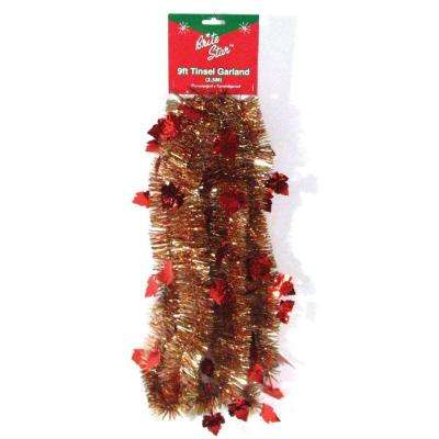 9 ft. Autumn Ochre Maple Leaf Tinsel (Set of 4)