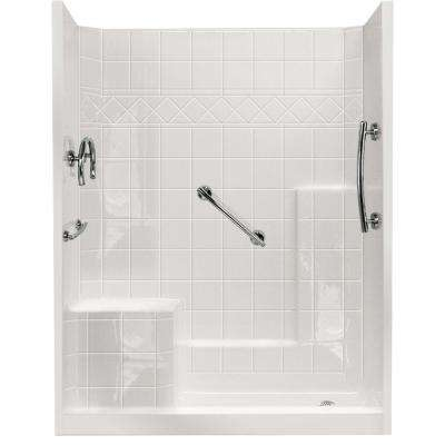 32 in. x 60 in. x 77 in. Freedom Low Threshold 3-Piece Shower Kit in White with Chrome Package Left Seat and Right Drain