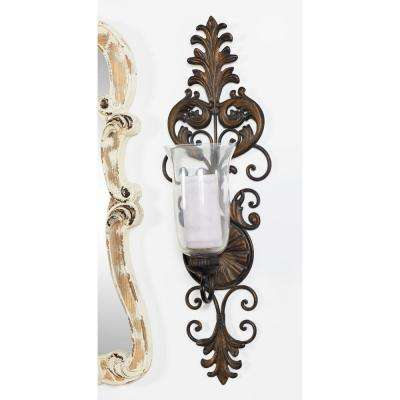 Antique Gold Flourished Iron Candle Sconce