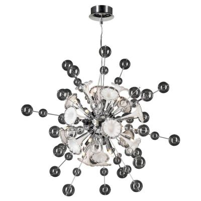 16-Light Polished Chrome Pendant with Clear White Glass Shade