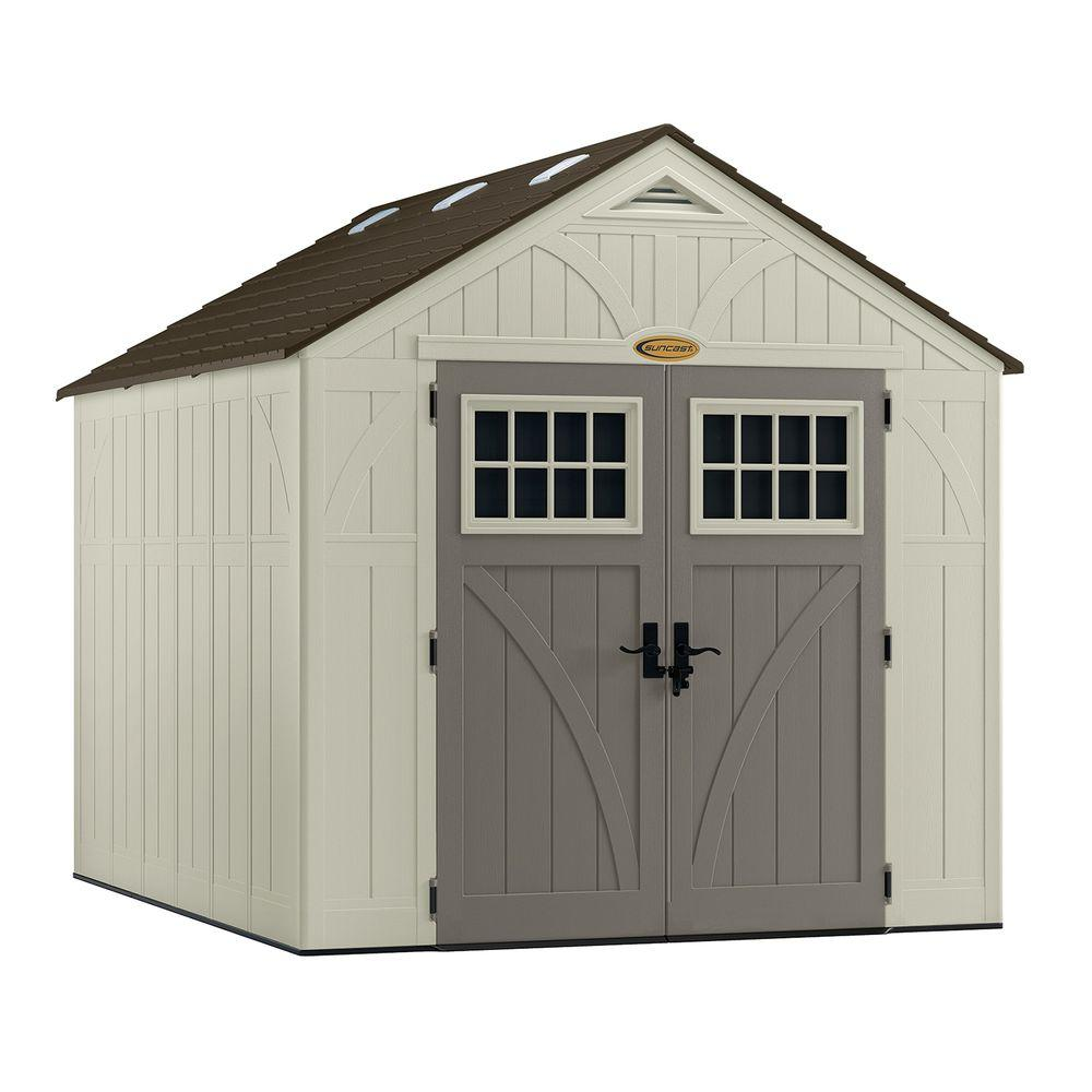 Suncast tremont 8 ft 4 1 2 in x 10 ft 2 1 4 in resin for 2 storage house