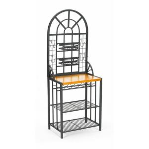 Southern Enterprises Dome Steel 26 inch W Baker's Rack with Wine Storage in Black by Southern Enterprises