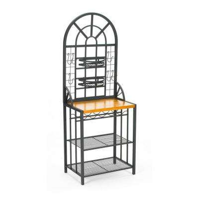 Dome Steel 26 in. W Baker's Rack with Wine Storage in Black