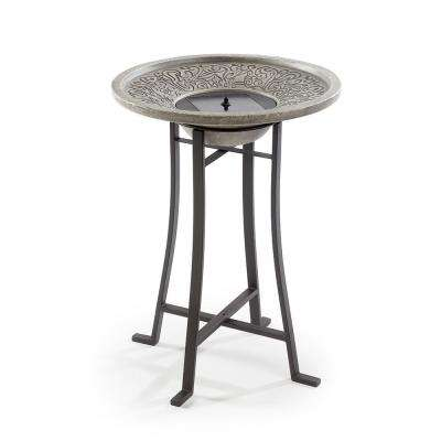 Perello Distressed Grey Cement Stone Solar Fountain Birdbath