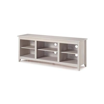60 in. White Wood TV Stand Fits TVs Up to 60 in. with Adjustable Shelves