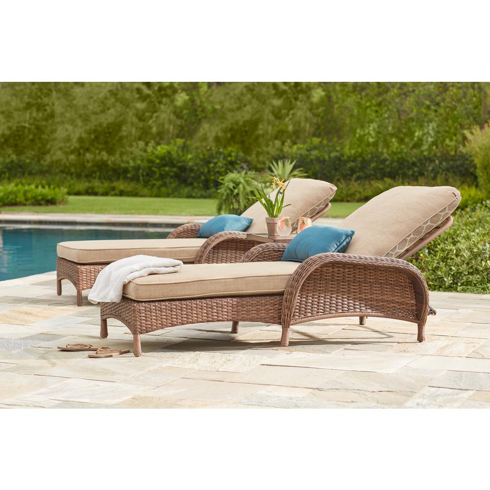 Hampton Bay Beacon Park Brown Wicker Outdoor Patio Chaise Lounge With Standard Toffee Trellis Tan Cushions
