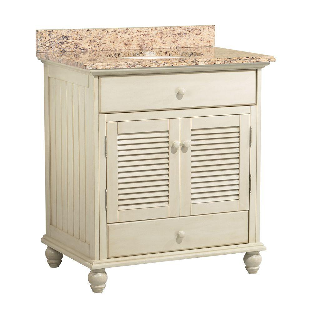 Home Decorators Collection Cottage 31 in. W x 22 in. D Vanity with Vanity Top and Stone Effects in Santa Cecilia was $734.0 now $513.8 (30.0% off)