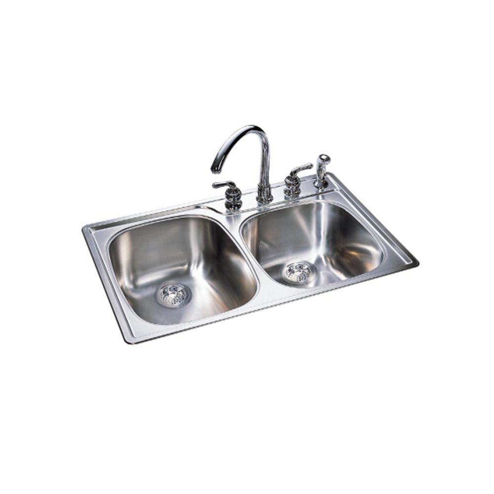 Franke Combination Bowl 18 Gauge Stainless Steel Sink With Silk Finish