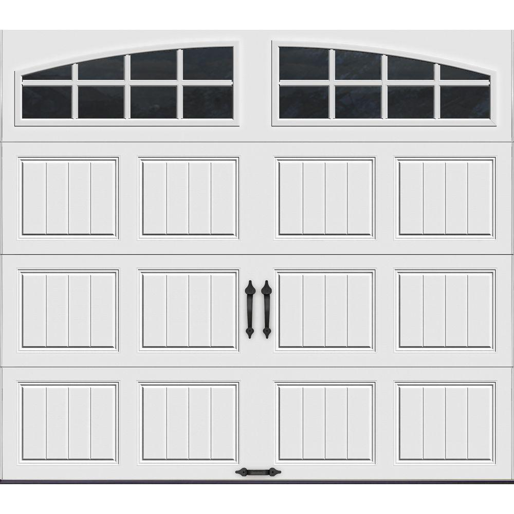Clopay Gallery Collection 8 ft. x 7 ft. 18.4 R-Value Intellicore Insulated White Garage Door with Arch Window