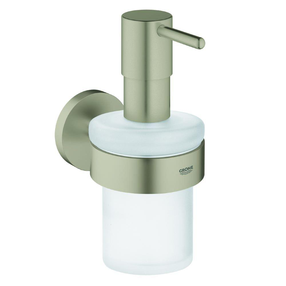 GROHE Essentials Wall Mounted Soap Dispenser With Holder In Brushed Nickel  InfinityFinish 40448EN1   The Home Depot