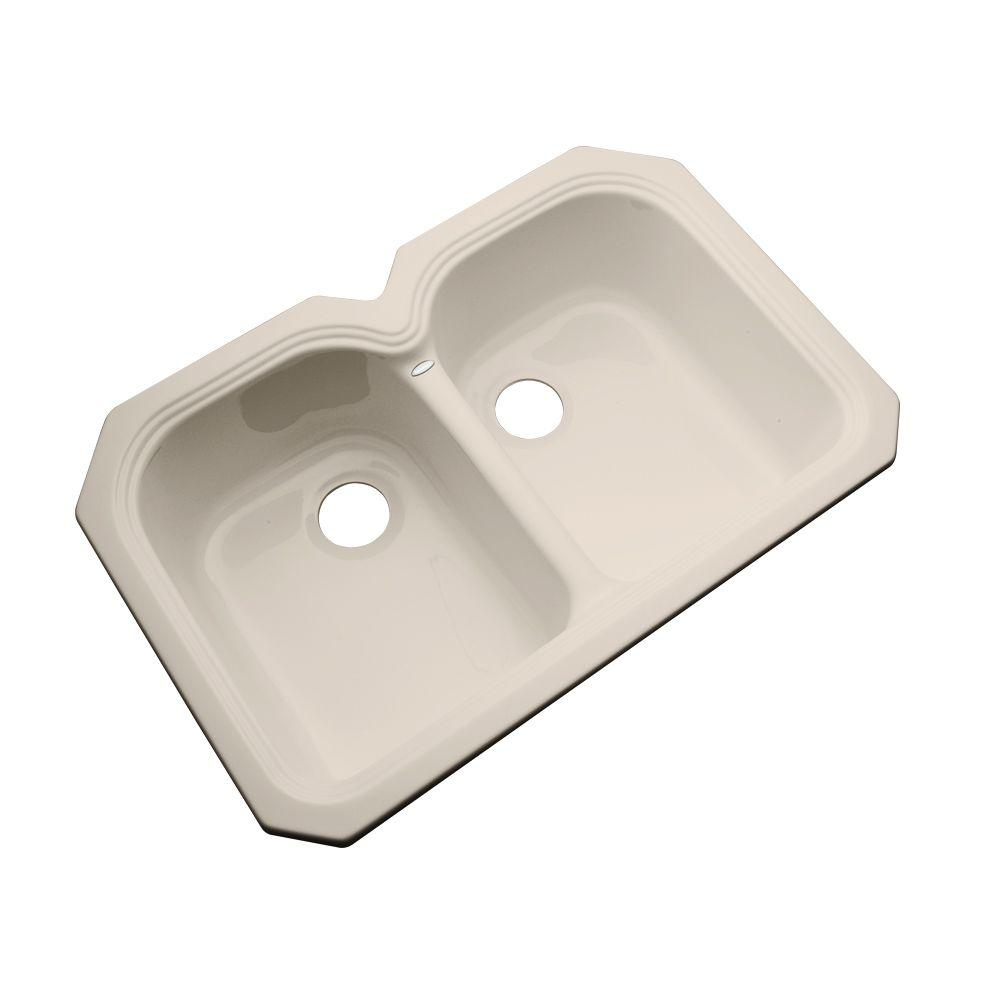 thermocast hartford undermount acrylic 33 in  0 hole double bowl kitchen sink in candle thermocast hartford undermount acrylic 33 in  0 hole double bowl      rh   homedepot com