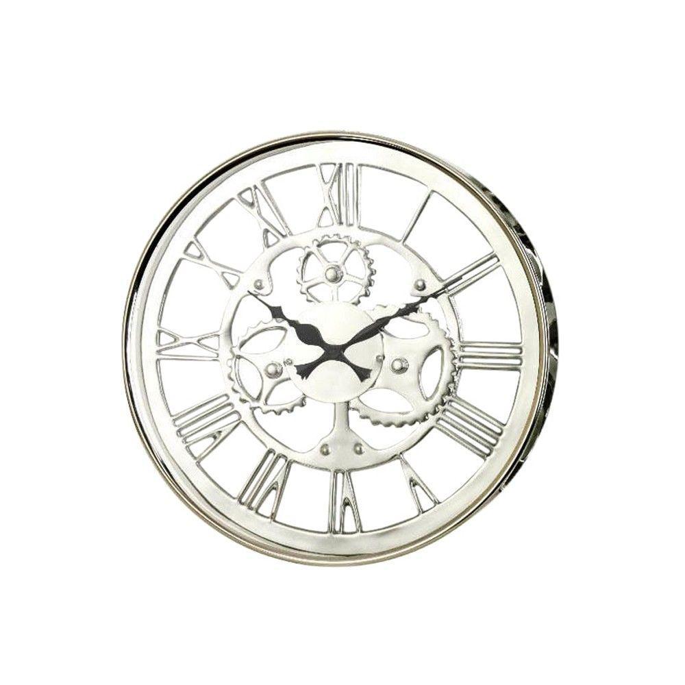 Home Decorators Collection 13.75 in. Regatta Nickel Metal Wall Clock