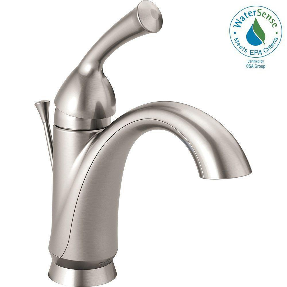 Delta Haywood Single Hole Handle Bathroom Faucet In Stainless