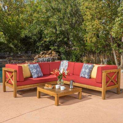 Brava Teak Finish 4-Piece Wood Outdoor Sectional Set with Red Cushions