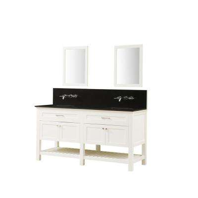 Preswick Spa Premium 70 in. W 25 in. D Vanity in White with Granite Vanity Top in Black with White Basin and Mirrors
