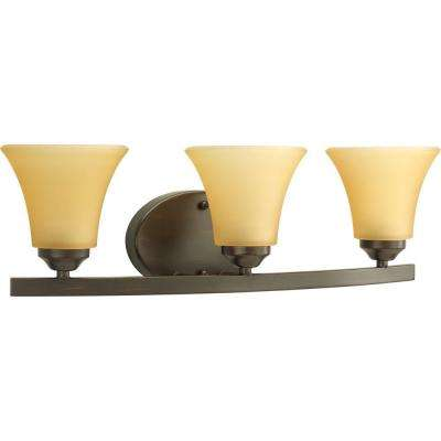 Adorn Collection 3-Light Antique Bronze Bathroom Vanity Light with Glass Shades