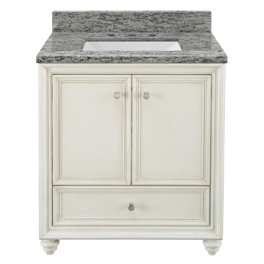Home Decorators Collection Dellwood 31 in. W x 22 in. D Bath Vanity in Antique White with Granite Vanity Top in Santa Cecilia with White Sink was $799.0 now $559.3 (30.0% off)
