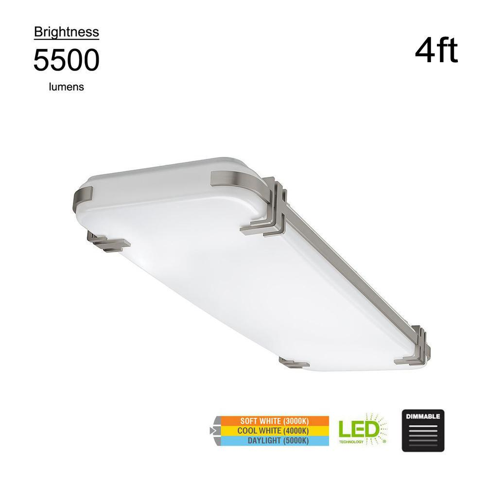 Mission Style 4 ft. Rectangular Brushed Nickel 128 Watt Equivalent Integrated