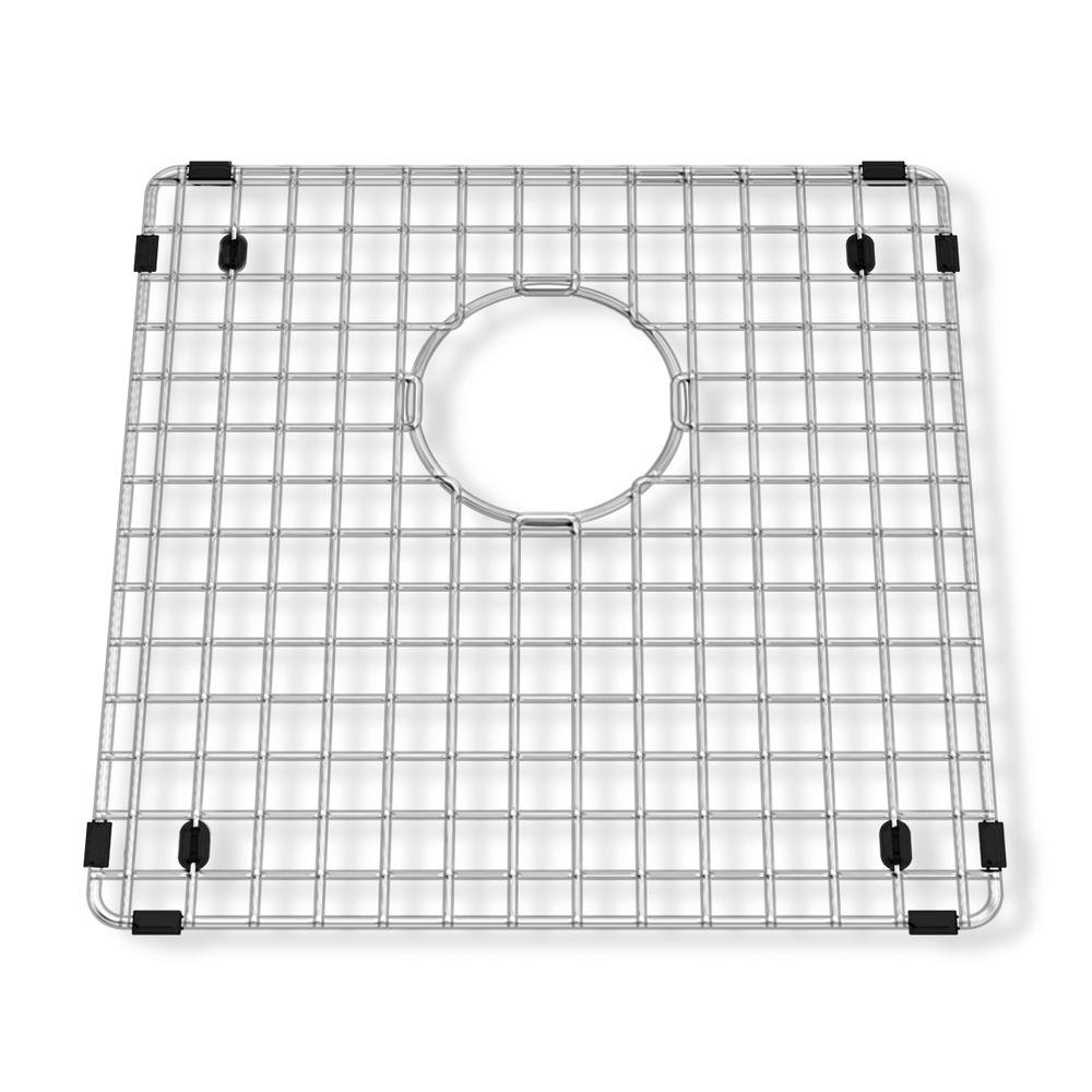 Square Kitchen Sink Grid in Stainless Steel  sc 1 st  Home Depot & American Standard Prevoir 14-1/4 in. Square Kitchen Sink Grid in ...