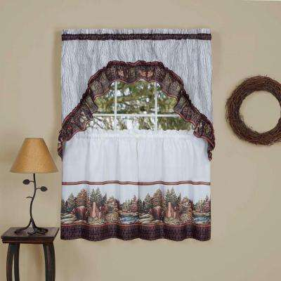 Sheer Woodlands Tier and Swag Window Curtain Set