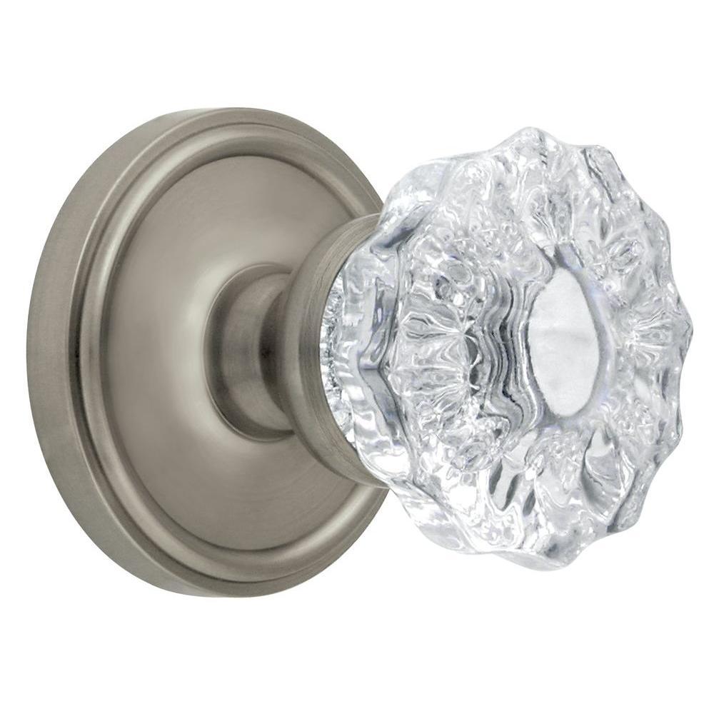 Grandeur Georgetown Rosette Satin Nickel with Privacy Fontainebleau Crystal Knob