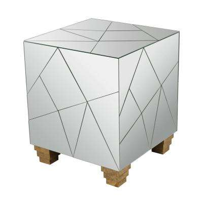 Mirrored Mosaic 19 in. Cube Mirror and Gold Accents Stool