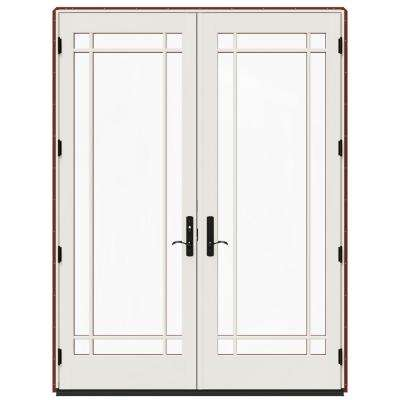 72 in. x 96 in. W-4500 Red Clad Wood Right-Hand 9 Lite French Patio Door w/White Paint Interior