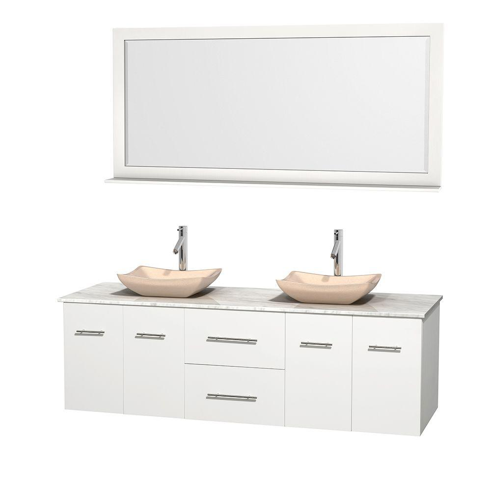 Wyndham Collection Centra 72 in. Double Vanity in White with Marble Vanity Top in Carrara White, Ivory Marble Sinks and 70 in. Mirror