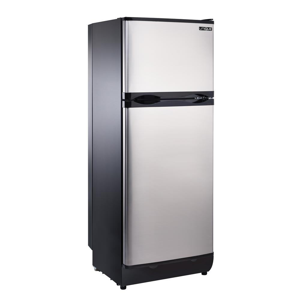 Unique 8 cu  ft  Propane Top Freezer Refrigerator Dual Power in Stainless  Steel (Propane/110-Volt)