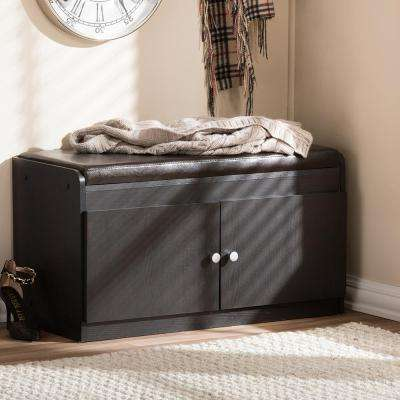 17 in. Margaret Modern and Contemporary Dark Brown Wood 2-Door Shoe Cabinet with Faux Leather Seating Bench