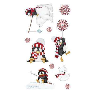 10 in. Multi Artic Antics Applique Wall Decal Stickers with Penguins and Polar Bears