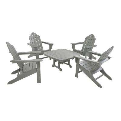 Long Island Slate Grey 5-Piece Adirondack Patio Conversation Group Set
