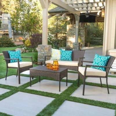 Cancun Multibrown 4-Piece Wicker Patio Conversation Set with Cream Cushions