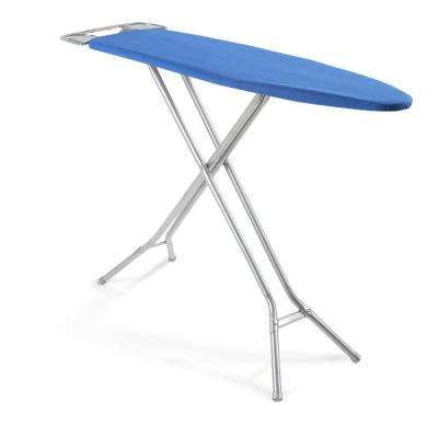 4-Leg Ironing Board with Safety Iron Rest and Midnight Blue Cover