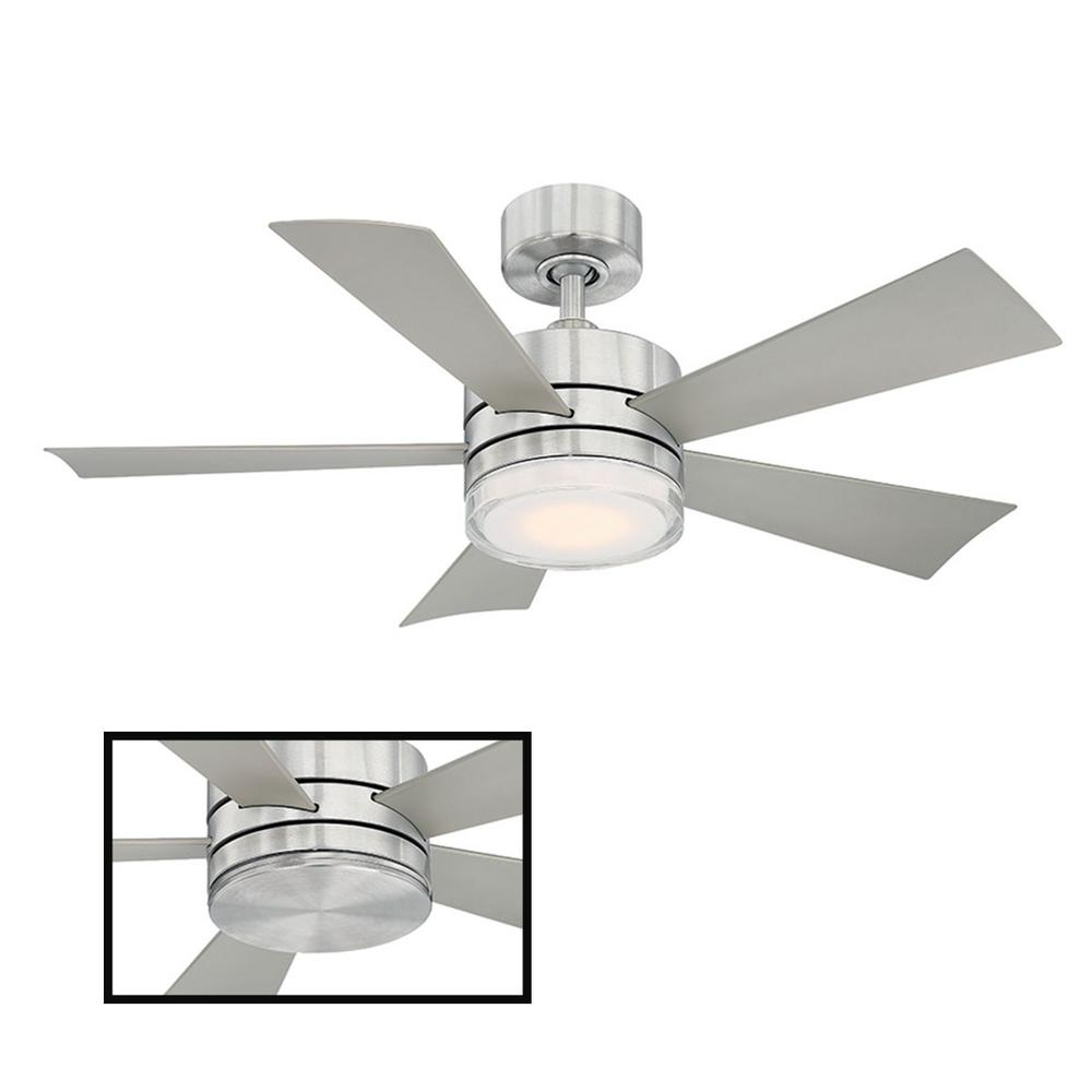 Modern Forms Wynd 42 in. LED Indoor/Outdoor Stainless Steel 5-Blade Smart Ceiling Fan with 3000K Light Kit and Wall Control