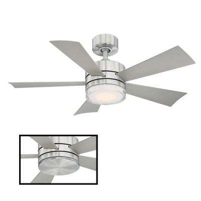 Wynd 42 in. LED Indoor/Outdoor Stainless Steel 5-Blade Smart Ceiling Fan with 3000K Light Kit and Wall Control