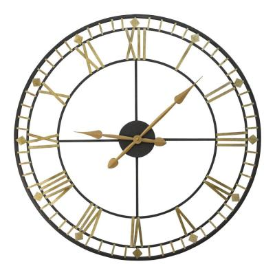 """Oversized 31.5"""" Vintage Style Metal Wall Clock w/ Black & Gold Numerals"""