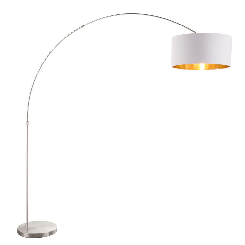 Lumisource Salon 76 In Satin Nickel Floor Lamp With White And Gold Shade