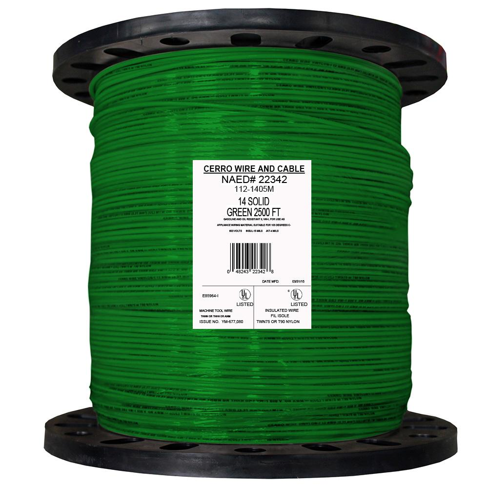 Cerrowire 2500 ft. 14 Green Solid THHN Wire-112-1405M - The Home Depot