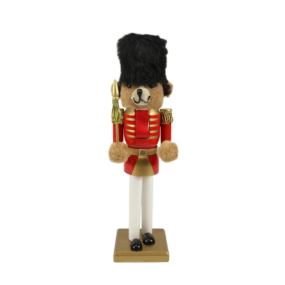 wooden red and gold christmas nutcracker bear soldier - Christmas Soldier