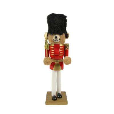 14.25 in. Wooden Red and Gold Christmas Nutcracker Bear Soldier