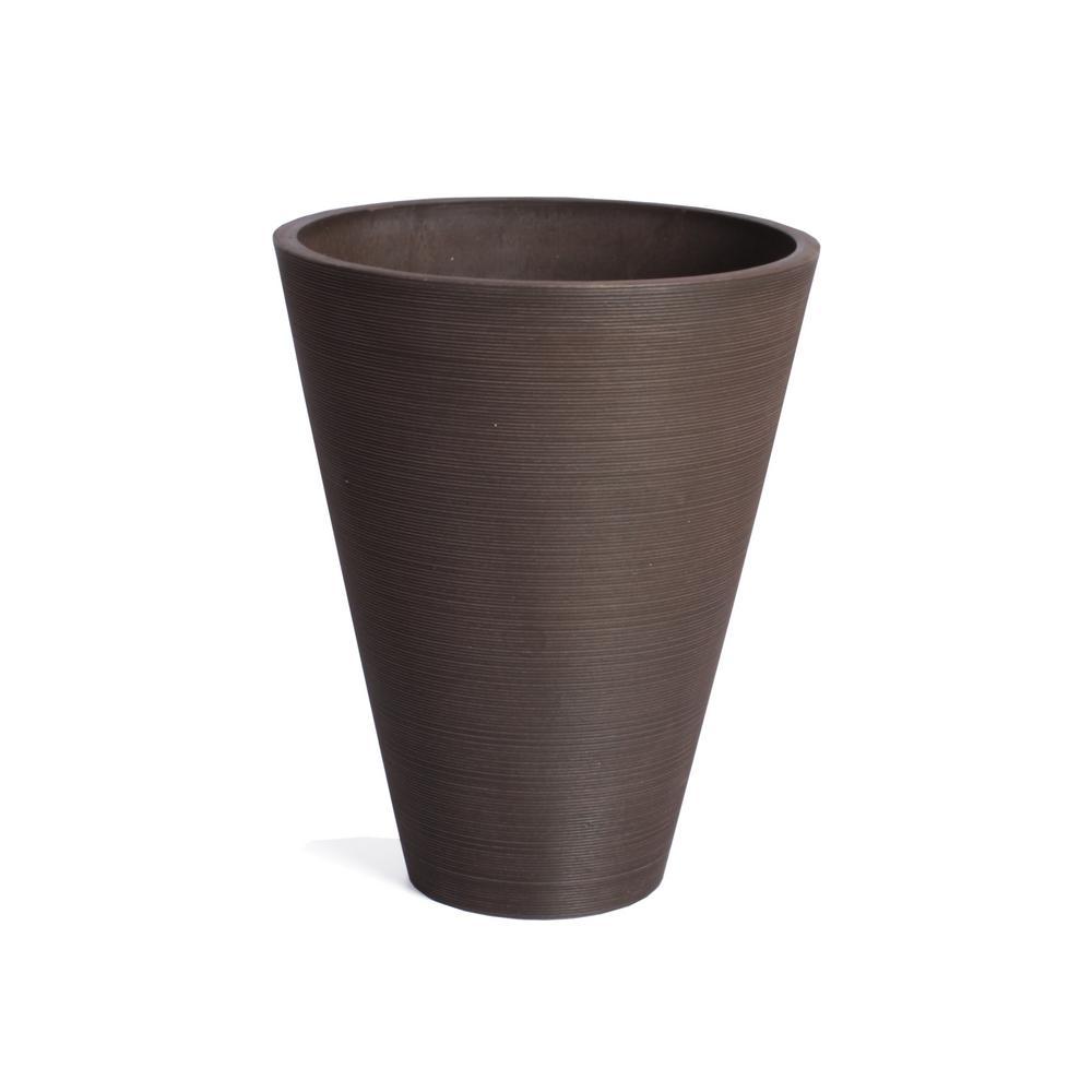 Kobo 22 in. Round Espresso Plastic Planter