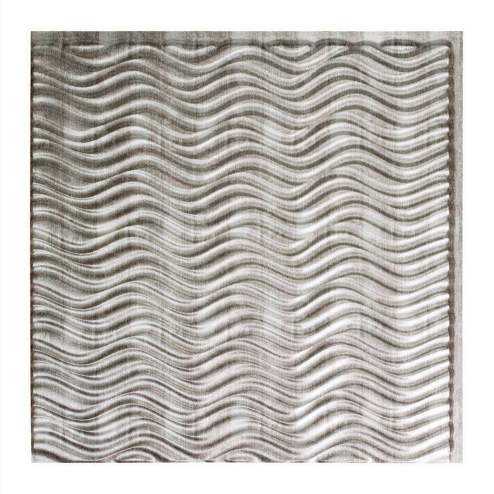 Fasade Current Horizontal - 2 ft. x 2 ft. Glue-up Ceiling Tile in Crosshatch Silver