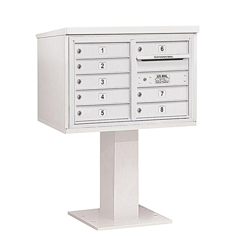Salsbury Industries 3400 Series 48-1/8 in. 5 Door High Unit White 4C Pedestal Mailbox with 8 MB1 Doors