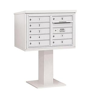 Salsbury Industries 3400 Series 48-1/8 inch 5 Door High Unit White 4C Pedestal Mailbox with 8 MB1 Doors by Salsbury Industries