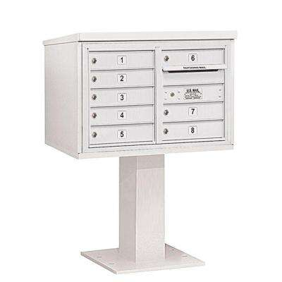 3400 Series 48-1/8 in. 5 Door High Unit White 4C Pedestal Mailbox with 8 MB1 Doors