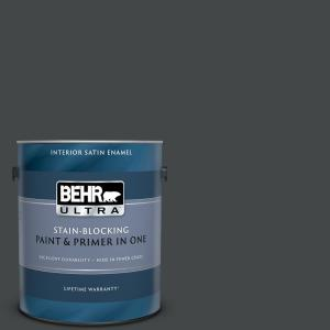 Behr Marquee 1 Gal Ppu24 23 Little Black Dress Satin Enamel Interior Paint And Primer In One 745301 The Home Depot