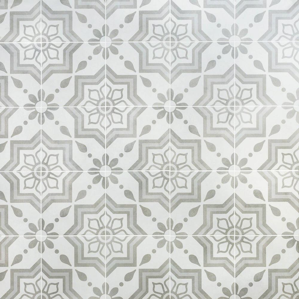 Ivy Hill Tile Sintra Silver Sky Encaustic 9 in. x 9 in. x 10mm Mate Porcelain Floor and Wall Tile (20 pieces / 10.65 sq. ft. / box)