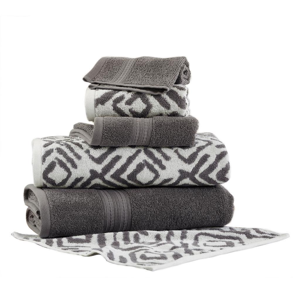 Ikat Diamond 6-Piece Cotton Bath Towel Set in Platinum